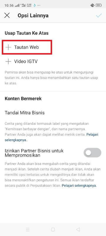 cara membuat link swipe up di story instagram